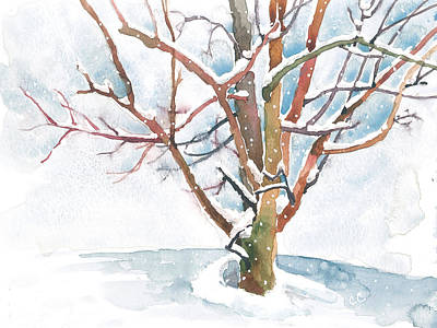 Snowy Trees Painting - Winter Hush At Dusk by Christine Camp