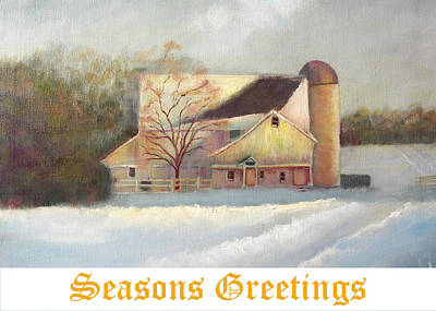 Painting - Winter Hush Holiday Card2 by Loretta Luglio