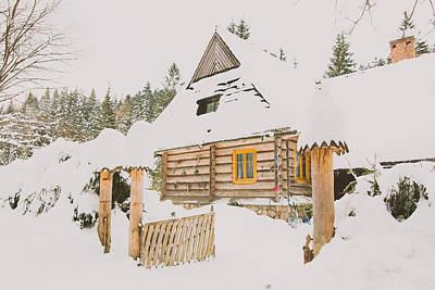 Christmas Holiday Scenery Photograph - Winter Hut by Pati Photography