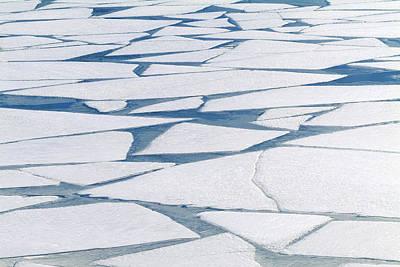 Winter Ice Layer On Portage Lake Art Print by Randy Brandon