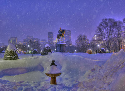 Winter In Boston - George Washington Monument - Boston Public Garden Art Print by Joann Vitali