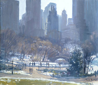 Winter In Central Park, New York, 1997 Oil On Canvas Art Print