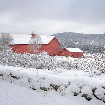 Red Barn In Winter Photograph - Winter In Connecticut Square by Bill Wakeley
