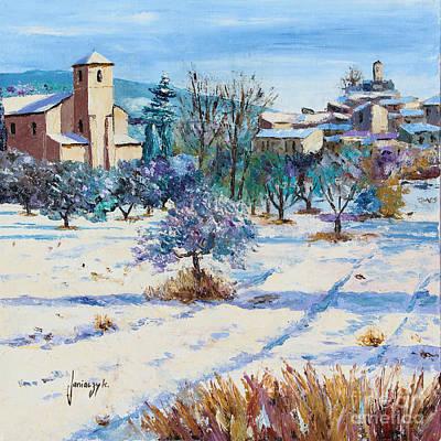 Snow Landscape Digital Art - Winter In Lourmarin by Jean-Marc Janiaczyk