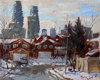 Ontario Painting - Winter In Mississauga  by Ylli Haruni