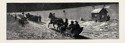Winter Night Drawing - Winter In Russia The Road Across The Ice Between Cronstadt by English School