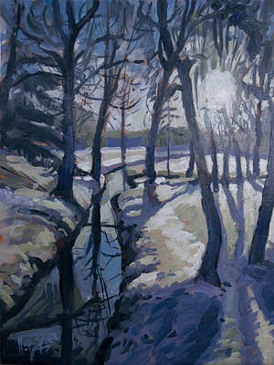 Painting - Winter In The Backyard Forest by Nop Briex
