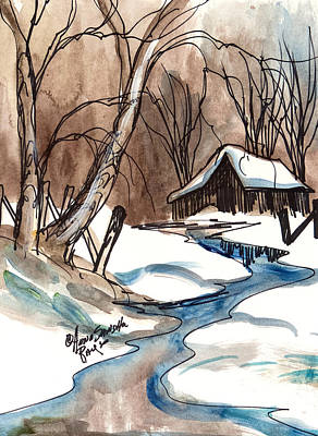 Barns In Snow Painting - Winter In The Cabin by Anna Sandhu Ray