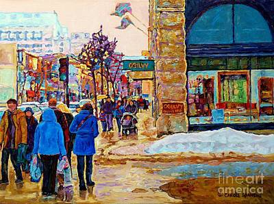 Painting - Winter In The City Downtown Montreal Stores Ogilvy Holt Renfrew Winter Street Scene C Spandau Art  by Carole Spandau