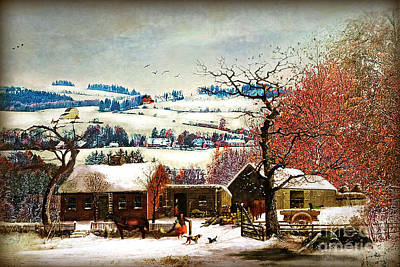 Winter In The Country Folk Art Art Print by Lianne Schneider