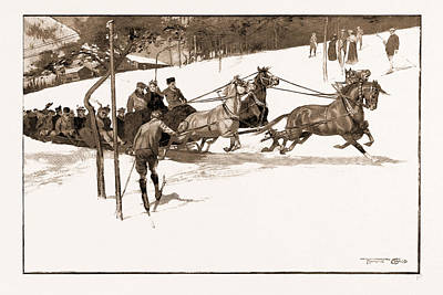 Winter In The Engadine A Tailing Party At Davos Platz Print by Litz Collection