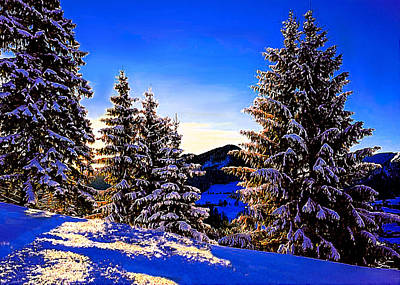 Painting - Winter Sunrise In Sierra Nevada Mountains by Bob and Nadine Johnston