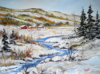 Winter In The Village Art Print