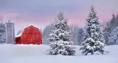 Barn Digital Art - Winter In Upstate Ny by Lori Deiter