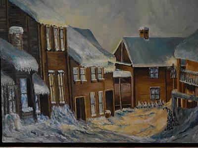 Robert Schmidt Painting - Winter In Village Center by Robert Schmidt