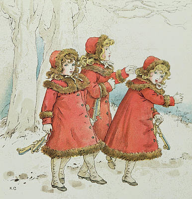 Wintry Drawing - Winter by Kate Greenaway