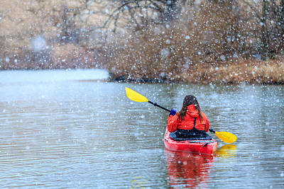 Photograph - Winter Kayaking by Alexey Stiop