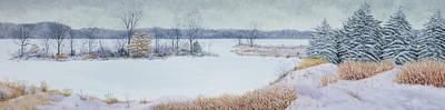 Winter Lake And Cedars Art Print