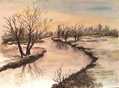 Winter Lake Scene Art Print by Lucia Grilletto