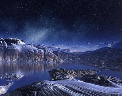 Digital Art - Winter Lake Snowy Night by Judi Suni Hall