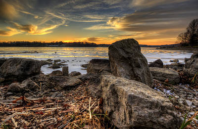 Photograph - Winter Lake Sunset by David Dufresne