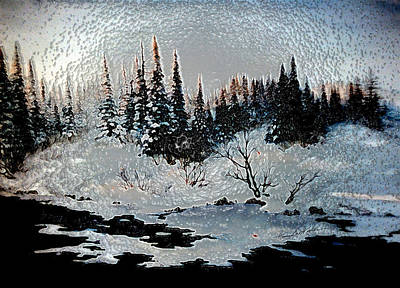 New England Winter Scene Painting - Winter Lake Sunset by Hanne Lore Koehler
