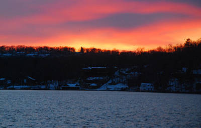 Photograph - Winter Lake Sunset by Richard Bryce and Family