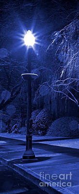 Photograph - Winter Lamp Post Blues by John Stephens