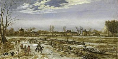 Fencing Painting - Winter Landscape, 1614 by Esaias I van de Velde