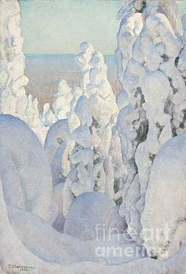 Pekka Wall Art - Painting - Winter Landscape At Kinahmi by Celestial Images