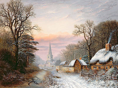 Steeple Painting - Winter Landscape by Charles Leaver