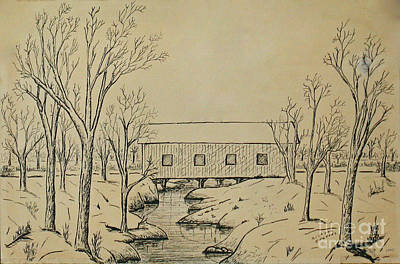 Drawing - Winter Landscape In Ink by Michael Anthony Edwards
