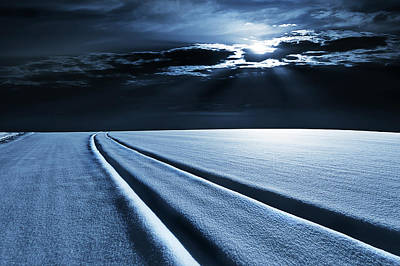 One Point Perspective Photograph - Winter Landscape In Moonlight by Wladimir Bulgar