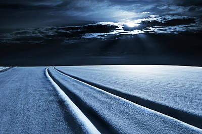 Winter Landscape In Moonlight Art Print