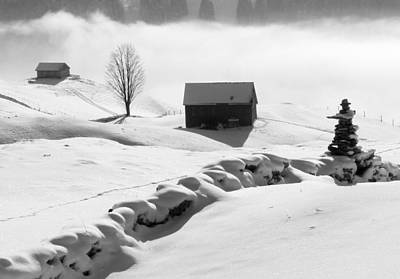Photograph - Winter Landscape In Switzerland - Black And White Photo by Matthias Hauser