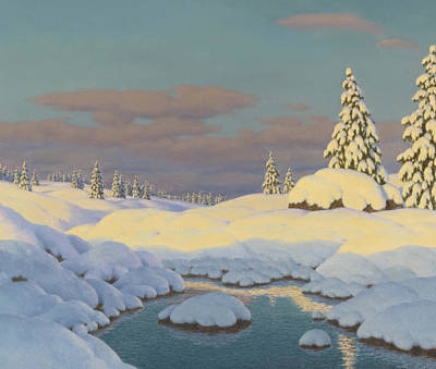 Winter Landscape Print by Ivan Fedorovich Choultse