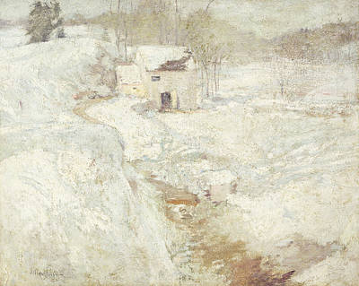 Christmas Holiday Scenery Painting - Winter Landscape by John Henry Twachtman