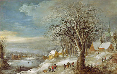 Snowfall Painting - Winter Landscape by Joos or Josse de The Younger Momper