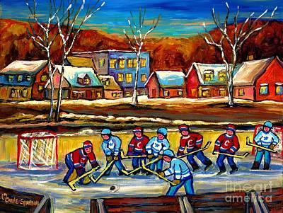 Kids Playing Hockey Painting - Winter Landscape Outdoor Hockey Game Canadian Village Scene Hockey Our National Sport Carole Spandau by Carole Spandau