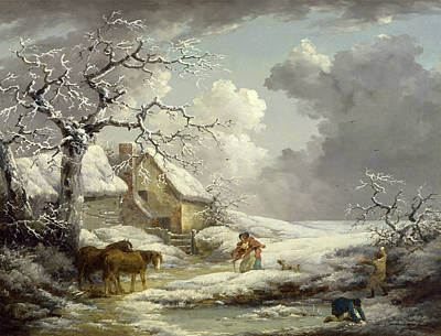 Shawl Painting - Winter Landscape Signed And Dated by Litz Collection