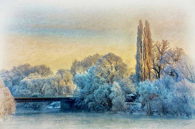 Painting - Winter Landscape With A Bridge Over The River by Gynt