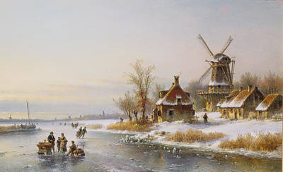 Netherlands Painting - Winter Landscape With A Windmill, 19th Century by J Kleyn Lodewyk