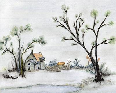 Drawing - Winter Landscape With Cottage by Christine Corretti