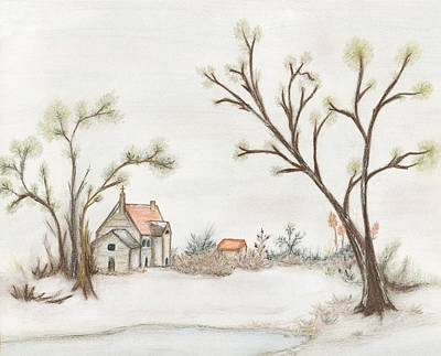 Drawing - Winter Landscape With Cottage II by Christine Corretti