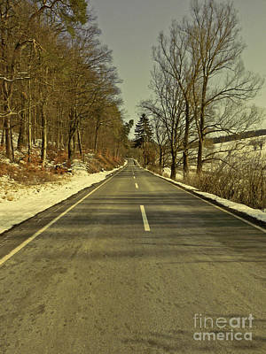 Winter-landscape With Country Road Art Print