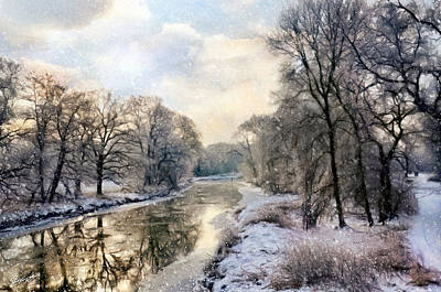 Painting - Winter Landscape With River by Gynt