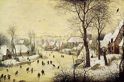 Snowfall Painting - Winter Landscape With Skaters And A Bird Trap by Pieter Bruegel the Elder