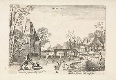 Pisces Fish Drawing - Winter Landscape With Skaters And Figures With Sleds by Jan Van De Velde (ii)