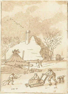 Bos Bos Drawing - Winter Landscape With Skaters, Anthonie Van Den Bos by Artokoloro