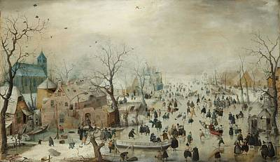 Crowds Painting - Winter Landscape With Skaters by Hendrik Avercamp